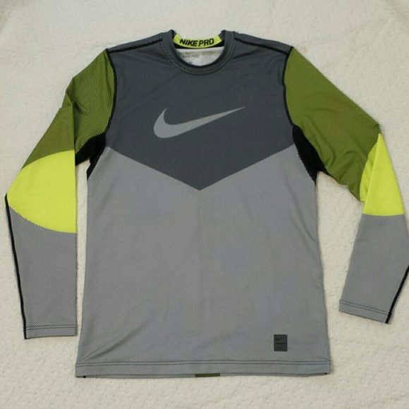 Activewear Nike Pro Hyperwarm Compression Line Crew Fitted Mens Shirt Mens Size M